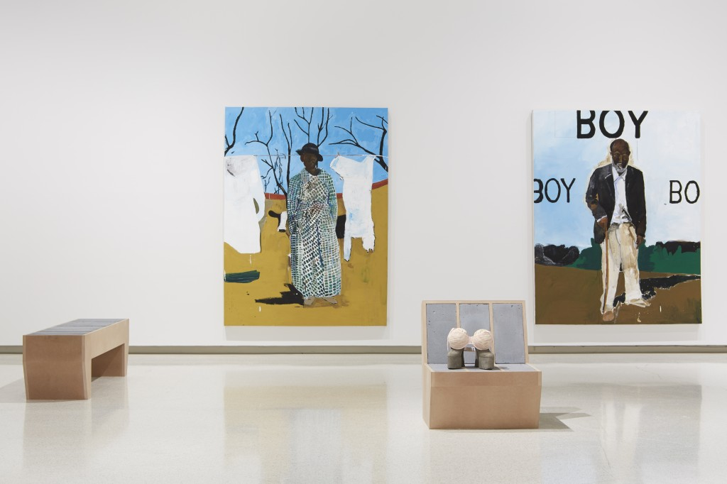 Installation view of sculptures by Sarah Lucas with paintings by Henry Taylor. Image courtesy of the Carnegie Museum of Art.