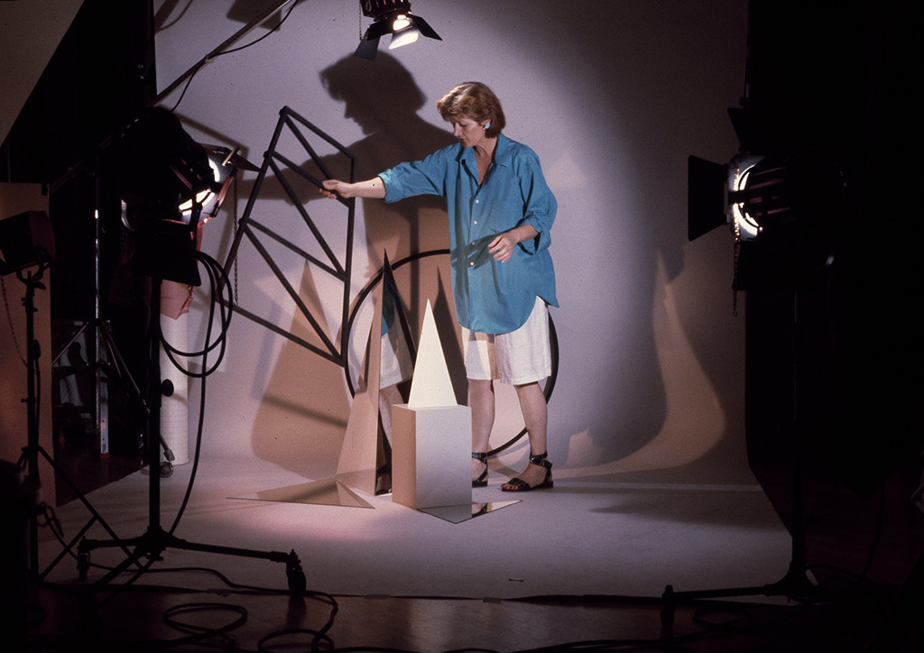 Documentation of Barbara Kasten working in her studio, New York, NY, 1983. Photo: Kurt Kilgus. Courtesy of the artist.