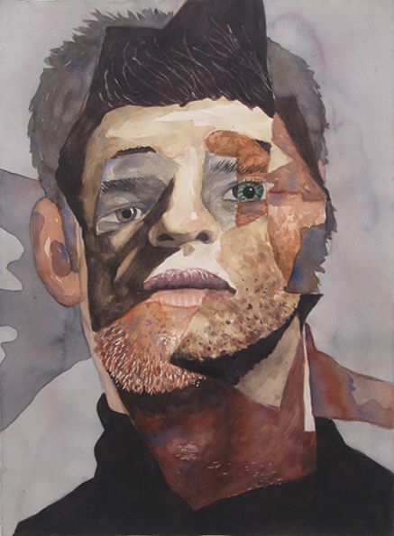 David Lock, Misfit (Shadow), 2013, watercolor painting on arches paper, 25.5 x 33 in