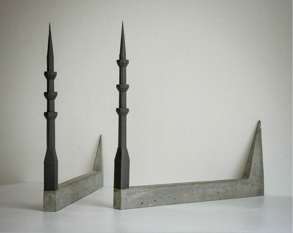 Susan Giles, Minarets, 2015, concrete and paper. Image courtesy of THE MISSION.