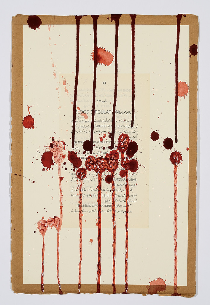 Imran Qureshi, Hard to Understand, 2013. Collage, ink, and gouache on wasli paper. Courtesy Corvi-Mora, London