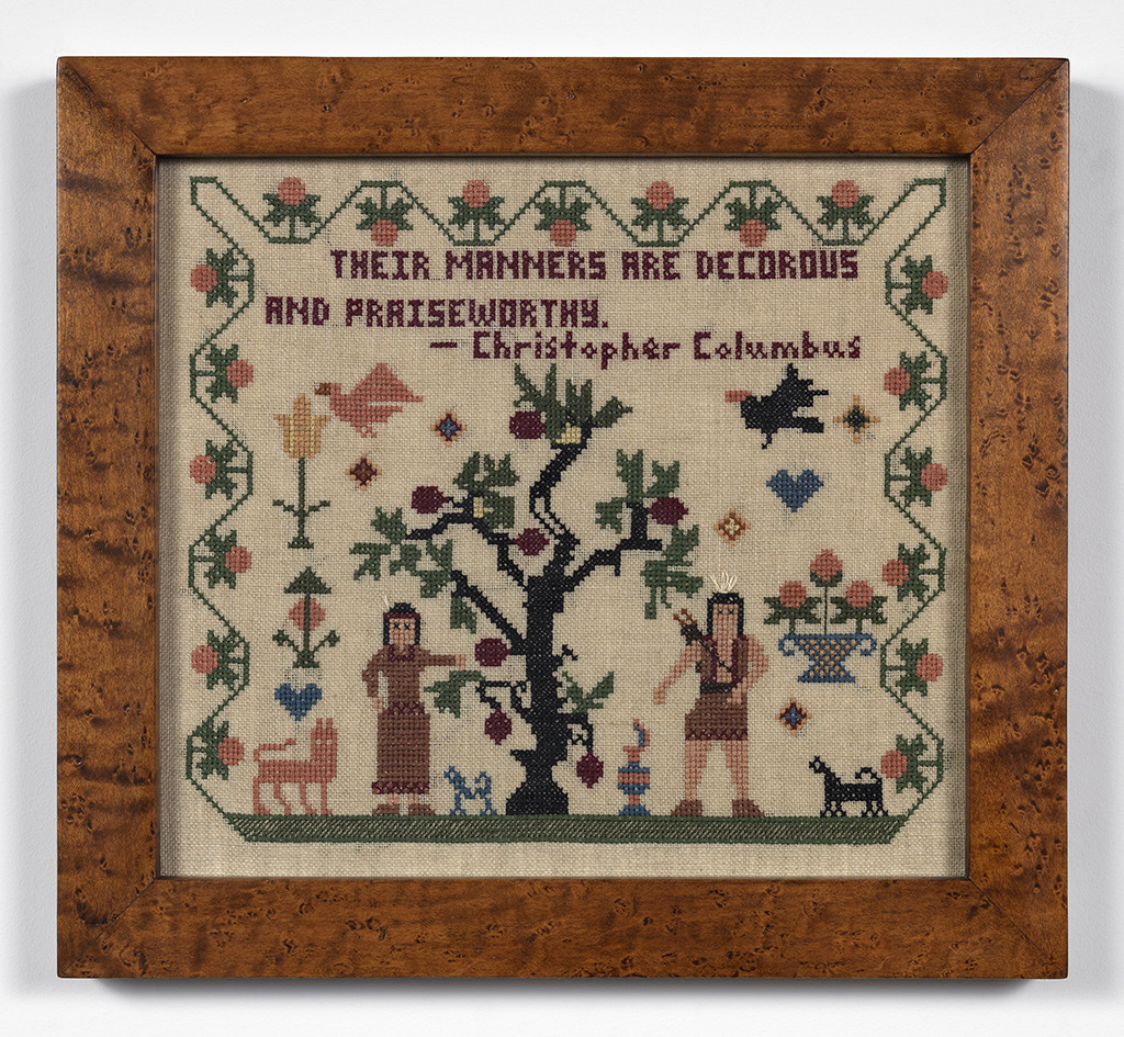 Elaine Reichek, Sampler (Their Manners Are Decorous), 1992. Courtesy the artist and Zach Feuer Gallery, New York.