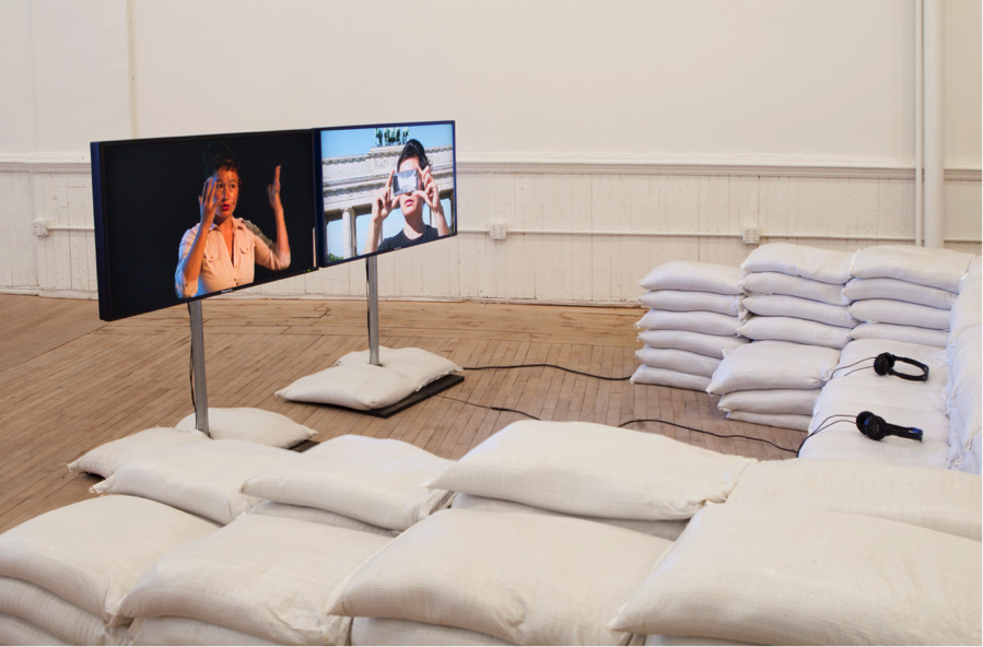 Is the Museum a Battlefield?, 2013, Two channel HD video with sound, 40 mins, Courtesy of the artist, Installation view from  Hito Steyerl, Artists Space, 2015