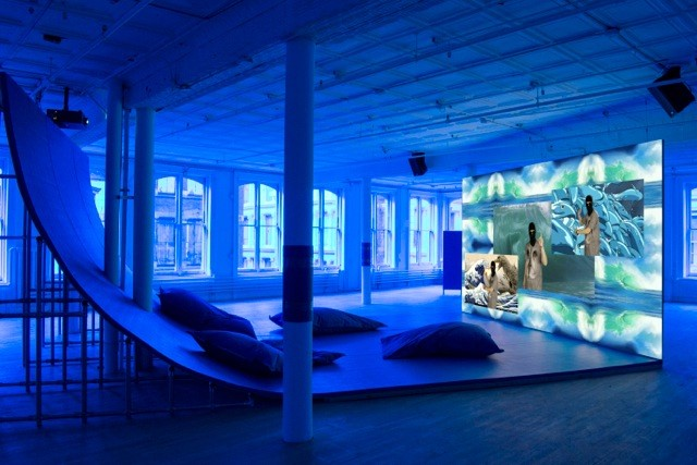 "Installation view of ""Hito Steyerl"" showing Liquidity, Inc.. Photo: Courtesy of Artists Space."