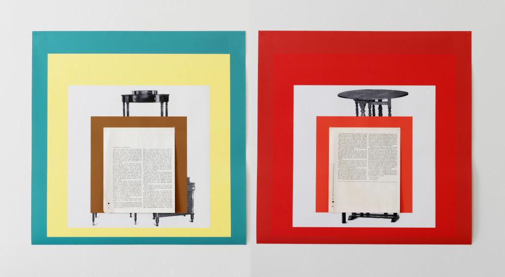 Diango Hernández, Visible: Compañeras y compañeros (2013). Pigment on canvas, pins and offset printed paper; 2 parts, each 60 x 60 cm. Courtesy of Marlborough Contemporary. Photo: Anne Pöhlmann.