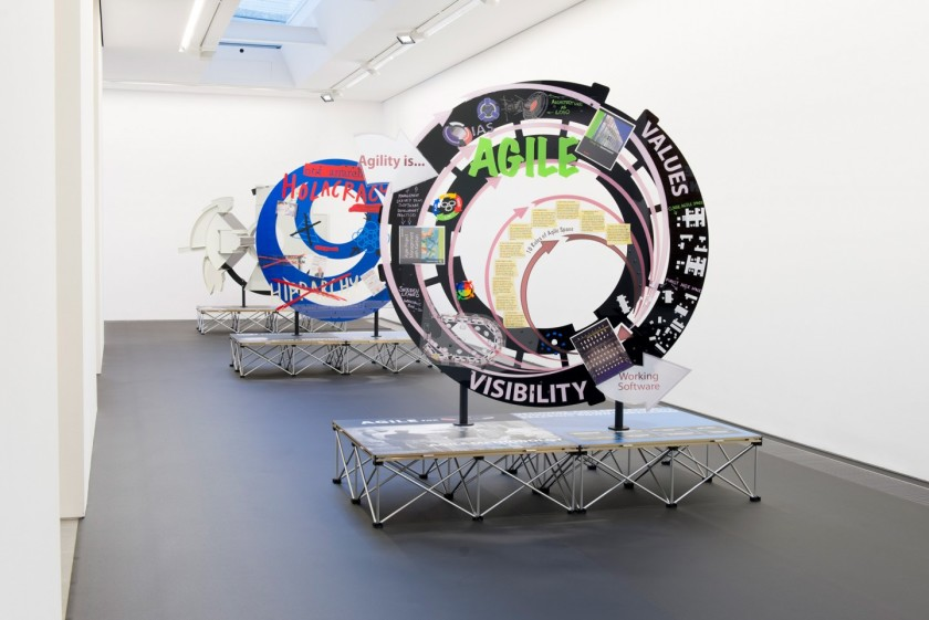 View of the exhibition: Simon Denny: Products for Organising at Serpentine Sackler Gallery runs through February 14, 2016. Photograph Copyright 2015 readsreads.info