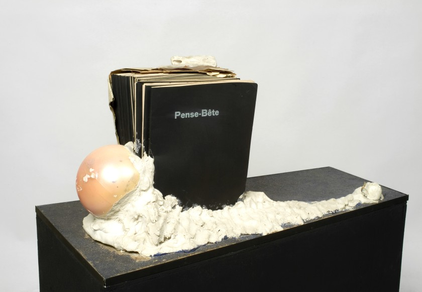 Marcel Broodthaers (Belgian, 1924–1976). Pense-Bête (Memory aid). 1964. Books, paper, plaster, and plastic balls on wood base, without base: 11 13/16 × 33 1/4 × 16 15/16 in. (30 × 84.5 × 43 cm). Collection Flemish Community, long-term loan S.M.A.K. © 2016 Estate of Marcel Broodthaers / Artists Rights Society (ARS), New York / SABAM, Brussels
