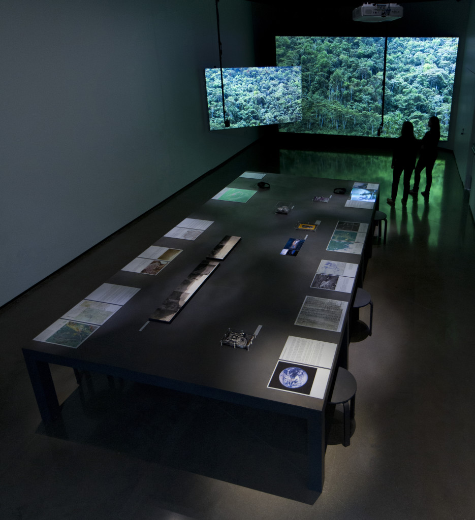 Ursula Biemann, The Land Grant: Forest Law. Installation view at the Eli and Edythe Broad Art Museum at Michigan State University, 2013. Photo courtesy: Eat Pomegranate Photography