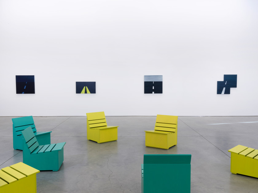 Mary Heilmann, Installation view at 303 Gallery, New York, November 5—December 19, 2015.  Courtesy 303 Gallery, New York.
