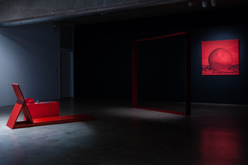 MPA, The Interview, 2015, Red Frame, 2014, and Mars 2014-15. THE INTERVIEW: Red, Red Future, Contemporary Arts Museum Houston, Houston, TX, 2016. Courtesy the artist and Contemporary Arts Museum Houston. Photo: Max Fields.