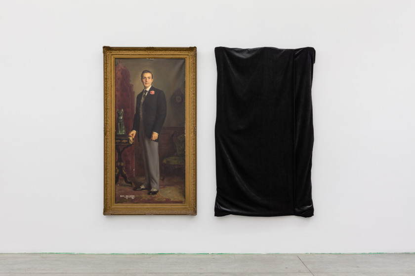 Installation view: (left) Henrique Medina, Portrait of Hurd Hatfield as Dorian Gray, 1945. Oil on canvas. Private collection (right) Cindy Sherman, The Evil Twin, 2016. Hidden painting, black velvet. Courtesy of the artist