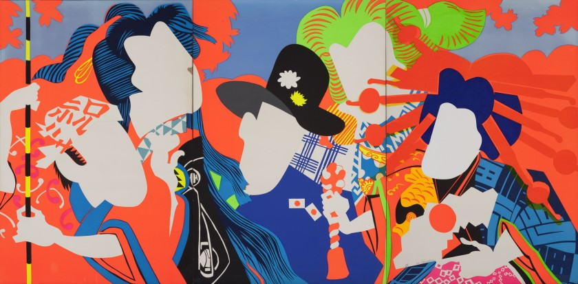 Ushio Shinohara, Doll Festival 1966. Fluorescent paint, oil, plastic board on plywood. Hyogo Prefectural Museum of Art (Yamamura Collection). © Ushio and Noriko Shinohar