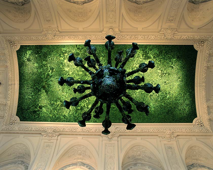 Jan Fabre, Heaven of Delight (2002), wing-cases of Buprestidae beetles on the ceiling, permanent installation, Hall of mirrors, Royal Palace, Brussels. Photo Dirk Braeckman, courtesy the artist and Ronchini Gallery.