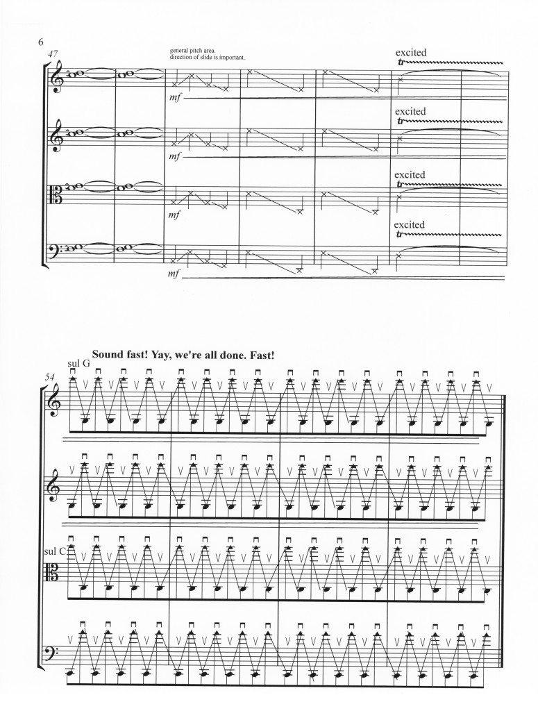 Raven Chacon (b. 1977 in Fort Defiance, Navajo Nation, Arizona; lives in Albuquerque, New Mexico). Native American Composers Apprentice Project, 2004-present. Workshop, scores and performance. Score for string quartet [excerpt], Celeste Lansing, Pink Thunder (2009)