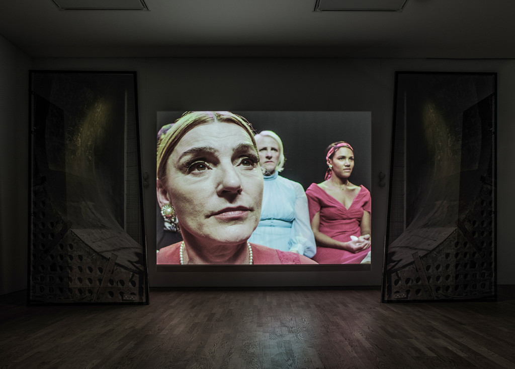 Installation shot: Jane and Louise Wilson – Undead Sun: We Put the World Before You, photo: Jason Hynes. Courtesy of the artists, Film and Video Umbrella and Middlesbrough Institute of Modern Art.