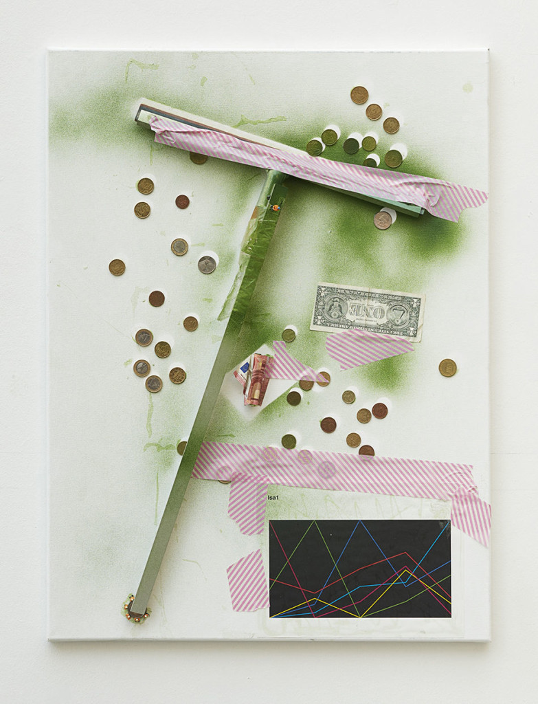Untitled, 2016, Isa Genzken, Window scraper, bills, coins, printed paper, tape, spray paint on canvas. 60 x 50.5 cm / 23 5/8 x 19 7/8 in. Courtesy the artist, Hauser & Wirth and Galerie Buchholz Cologne / Berlin / New York. © Artists Rights Society (ARS) New York / VG Bild-Kunst, Bonn. Photo: Nick Ash