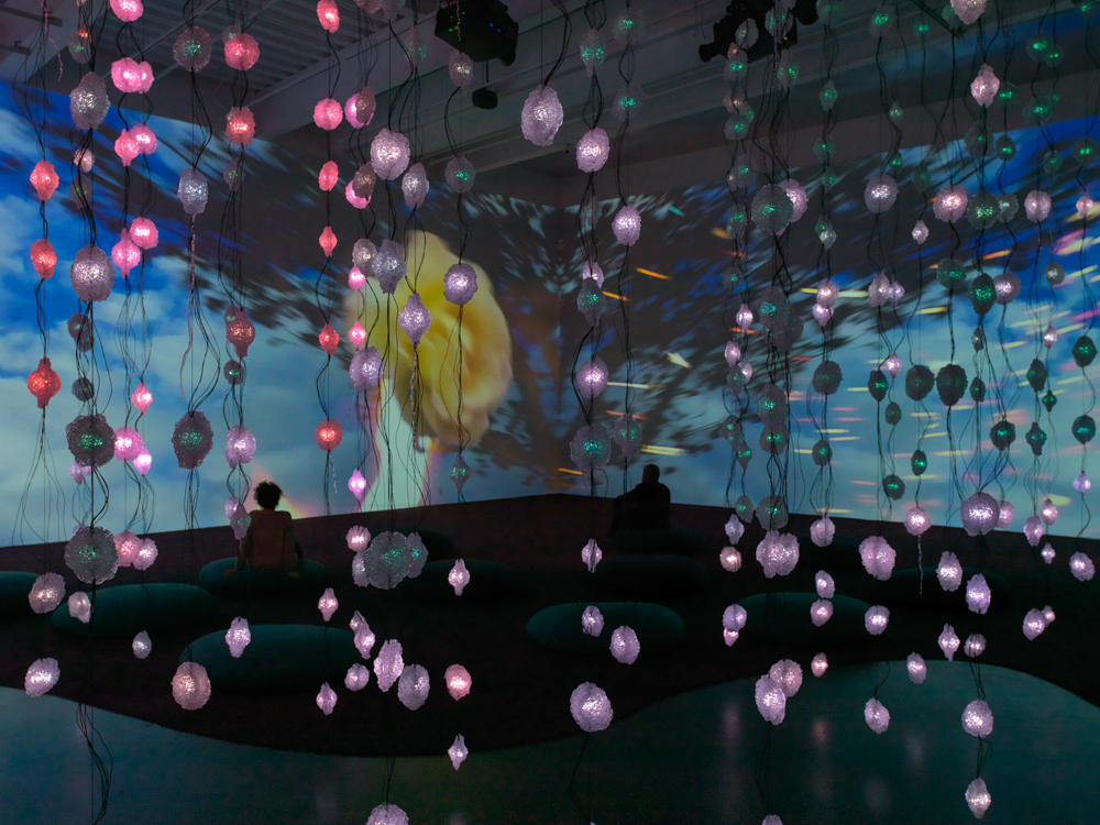 Pipilotti Rist, Worry Will Vanish Horizon, 2014. Two-channel video and sound installation, color, with carpet and pillows; 10:25 min. Dimensions variable. Sound by Anders Guggisberg. Courtesy the artist, Hauser & Wirth, and Luhring Augustine. Installation photo: Maris Hutchinson / EPW Studio, courtesy New Museum.