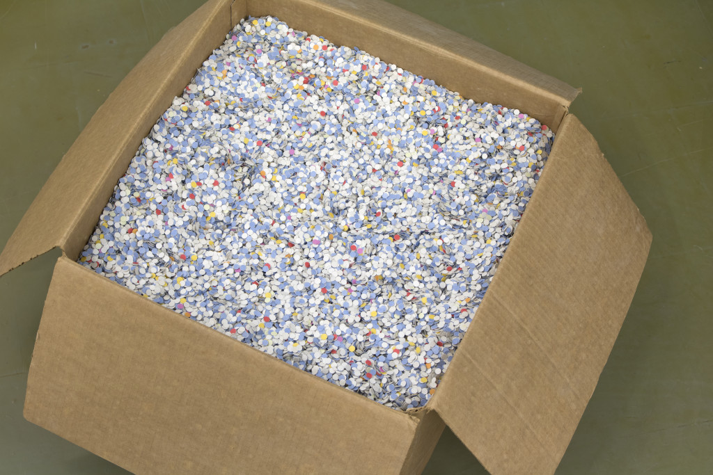 Jeff Prokash, Nightclub Confetti, NC 8532 multicolor paper confetti, 24 in x 24 in x 12; 25lb box; purchase source unknown. Found in the basement of the Franky's Nightclub, est. 1984-2001, Menasha, WI, Collected on October 21, 2016, courtesy Phil Peters