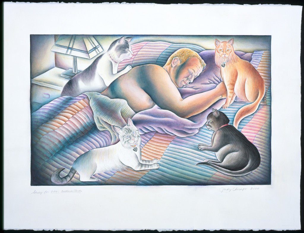 Judy Chicago, 6 AM: Cat Alarm Clocks from Kitty City, 2000, watercolor on Arches, 22 x 30 in. © Judy Chicago. Photo: Donald Woodman
