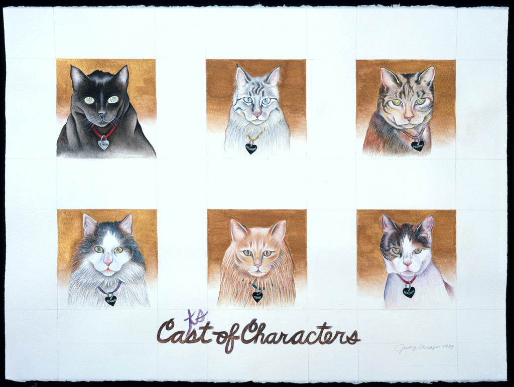 Judy Chicago, Ca(ts)st of Characters from Kitty City, 1999, watercolor, white tempera and gouache on Arches, 22 x 30 in. © Judy Chicago. Photo: Donald Woodman