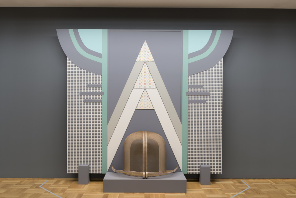 Installation view, Chicago Works: Diane Simpson at MCA Chicago, 2016. Window Dressing: Background 2, Bowler, 1994/2007, foam board, wood, steel, enamel, fabric, MDF, and rayon/silk cord. Courtesy of the artist, JTT, New York and Corbett vs. Dempsey, Chicago. Photo: Nathan Keay, © MCA Chicago