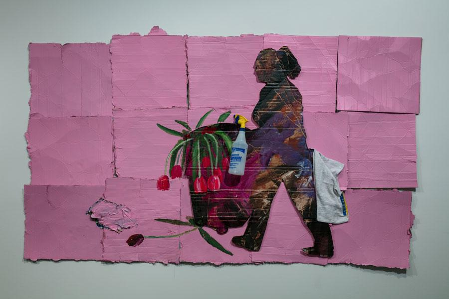 Ramiro Gomez, Lupita, 2017. Acrylic paint and plastic spray bottle on cardboard 49 x 83 in. © Ramiro Gomez