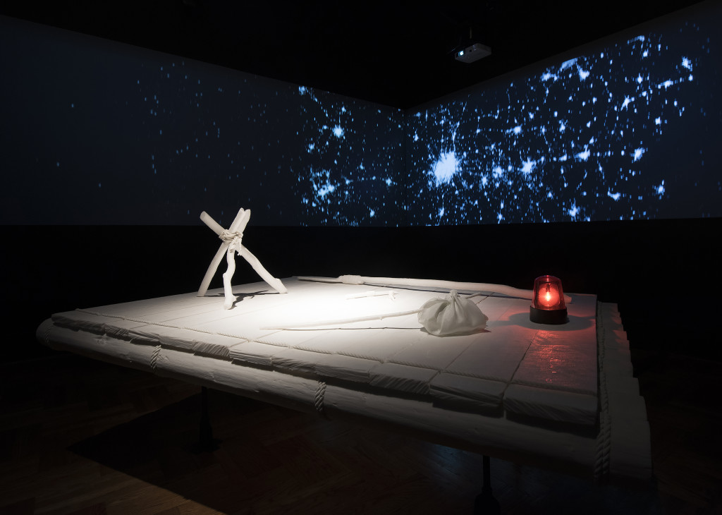 Installation photo of Lost in Space (After Huck) by Shimon Attie at the Saint Louis Art Museum.