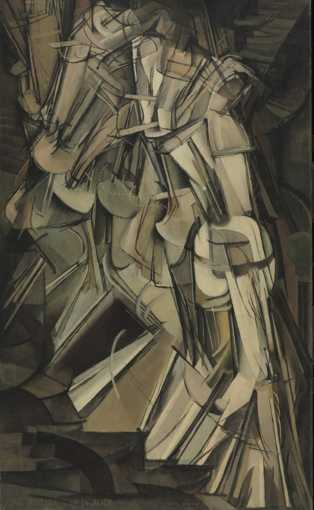 Marcel Duchamp, Nude Descending a Staircase (No. 2), 1912, Oil on canvas, 57.875 x 35.125 inches, © Artists Rights Society (ARS), New York / ADAGP, Paris / Estate of Marcel Duchamp.