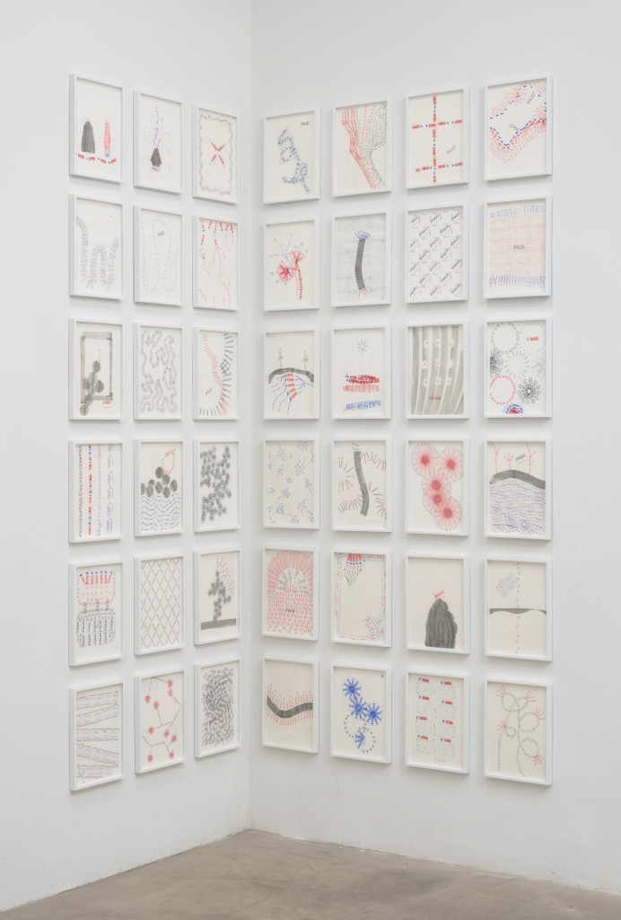 Amalia Pica, Joy in Paperwork, 2016. Stamp ink on A4 paper, 12.625 x 9.5 inches. Courtesy the artist and Marc Foxx Gallery, Los Angeles. Photographer: Robert Wedemeyer.