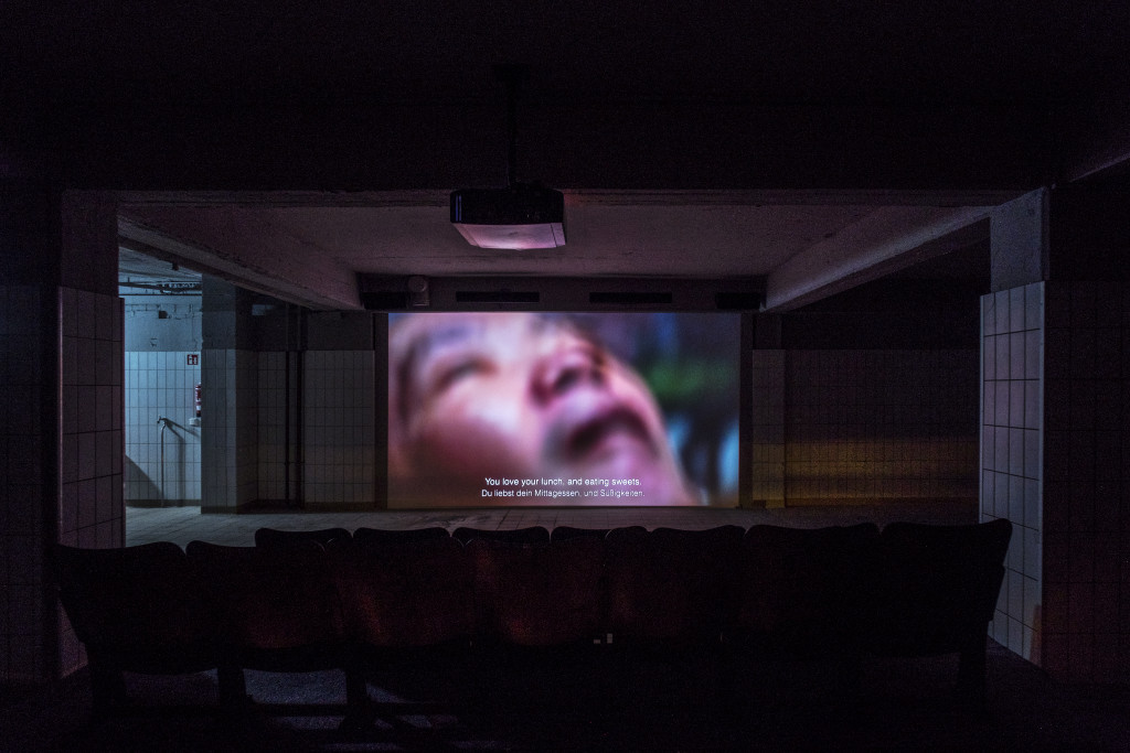 Véréna Paravel and Lucien Castaing-Taylor, Commensal, 2017. Video and film installation, installation view, Tofufabrik, Kassel, documenta 14. Photo: Mathias Völzke.