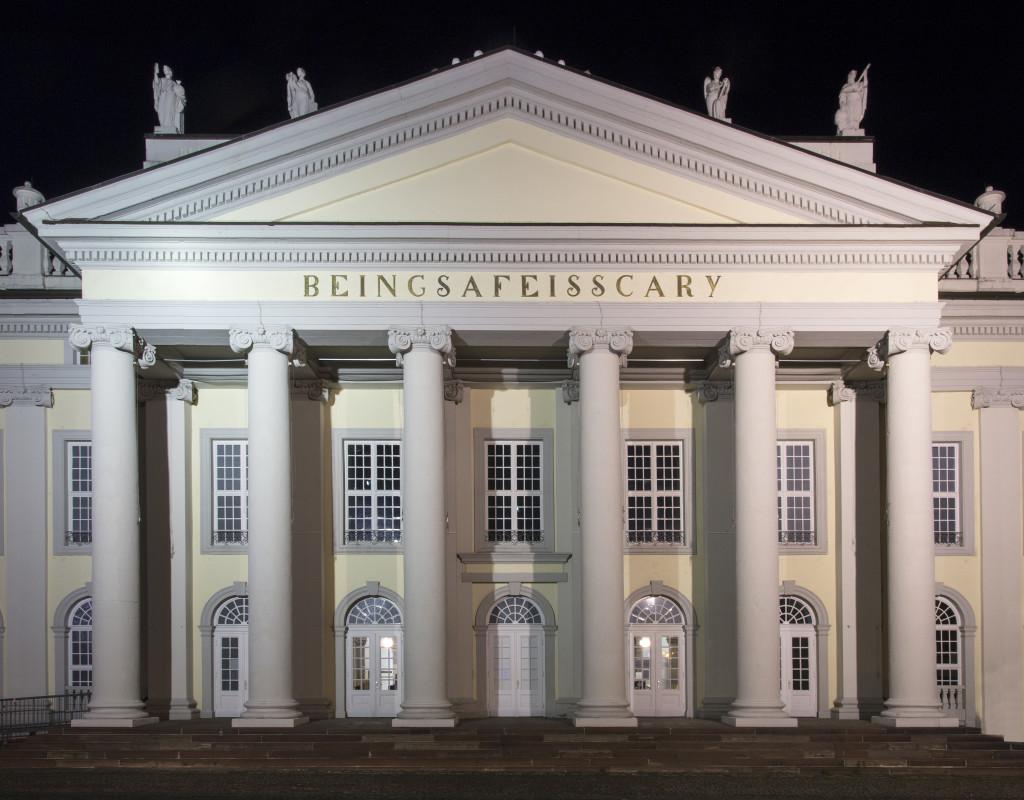 Banu Cennetog˘lu, BEINGSAFEISSCARY, 2017, various materials, Friedrichsplatz, Kassel, documenta 14. Photo: Roman März.