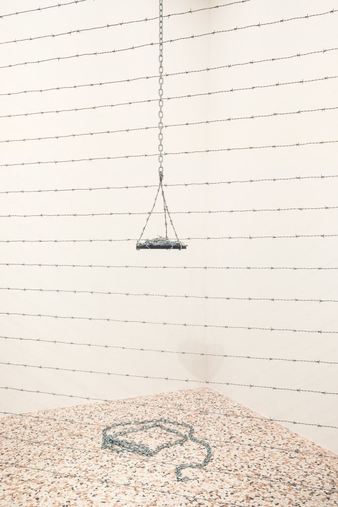 Melvin Edwards, Corner for Ana, 1970/2017, Barbed wire. Courtesy of the artist and Alexander Gray Associates, New York. Installation View, Space Force Construction. Photo: Delfino Sisto Legnani. Kirill Gluschenko.