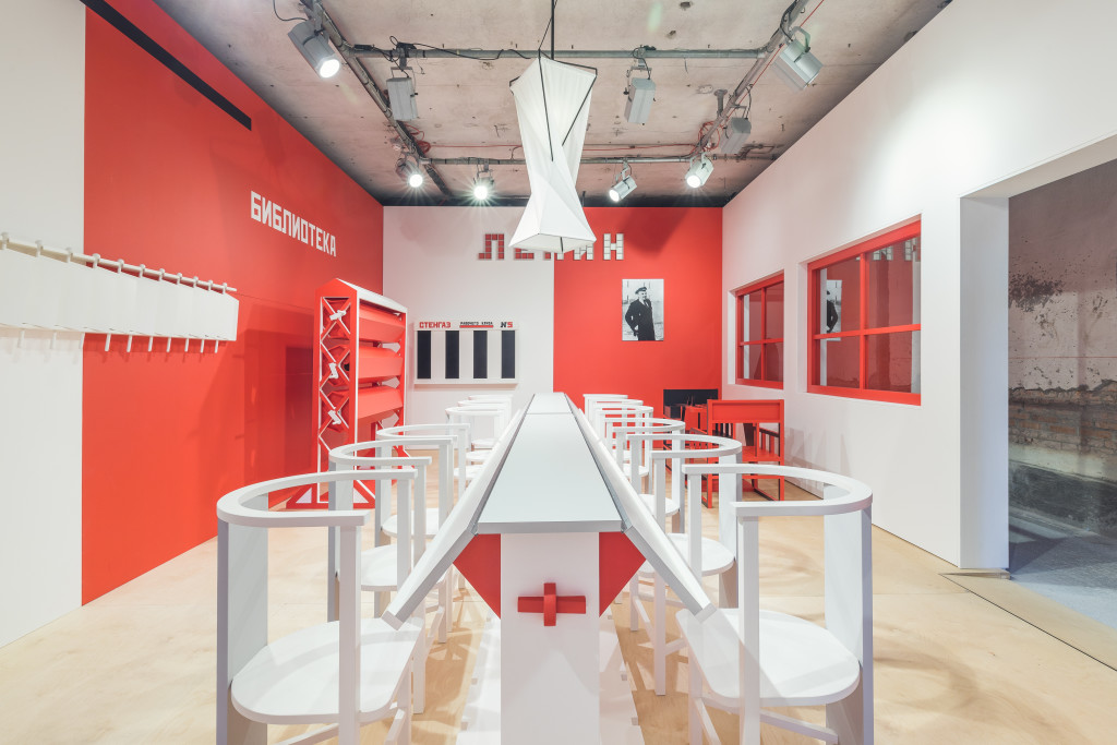 Aleksandr Rodchenko. Workers' Club, International Exposition of Modern Decorative and In-dustrial Arts, Paris, 1925, replica constructed 2017, Wood. Produced by V–A–C Foundation. Installation View, Space Force Construction. Photo: Delfino Sisto Legnani.