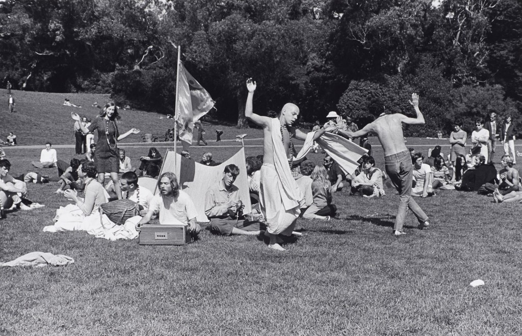 Ruth-Marion Baruch, Hare Krishna Dance in Golden Gate Park, Haight Ashbury, 1967. Gelatin silver print. Lumière Gallery, Atlanta, and Robert A. Yellowlees. Courtesy Special Collections, University Library, University of California Santa Cruz. Pirkle Jones and Ruth-Marion Baruch Photographs. Image Courtesy of the Fine Arts Museums of San Francisco.
