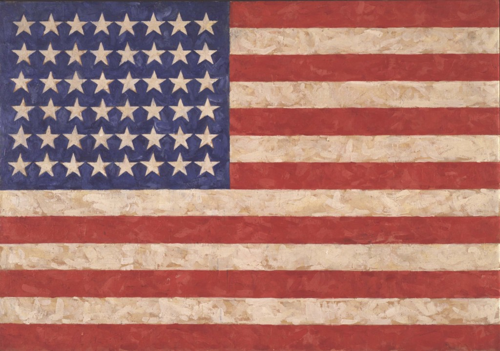 Jasper Johns, Flag, 1958. Encaustic on canvas. 105.1 x 154.9 cm. Private collection © Jasper Johns / VAGA, New York / DACS, London 2017. Photo: Jamie Stukenberg © The Wildenstein Plattner Institute, 2017