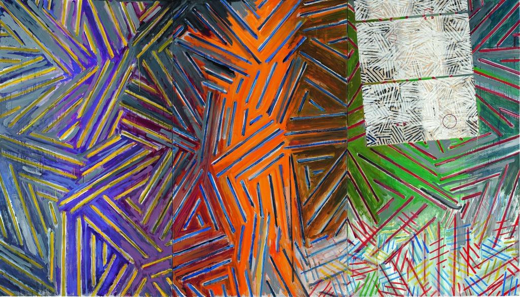 Jasper Johns, Between the Clock and the Bed, 1981. Oil on canvas. 182.9 x 320.7 cm. Collection of the artist © Jasper Johns / VAGA, New York / DACS, London 2017. Photo: Jamie Stukenberg © The Wildenstein Plattner Institute, 2017
