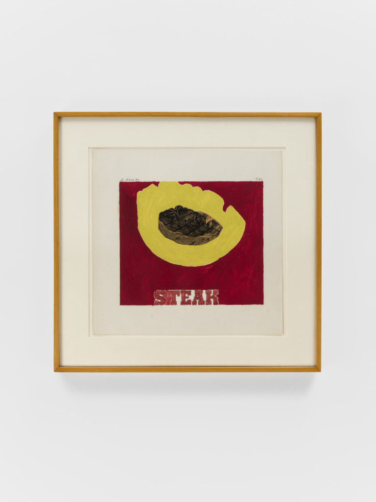 Ed Ruscha, Steak , 1962, Oil and collage on paper 11 3/4 x 12 inches, Photograph by Matthew Kroening, Courtesy of Almine Rech Gallery