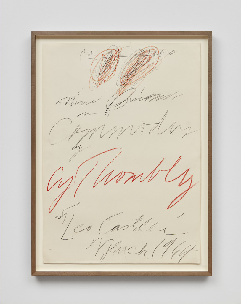 Cy Twombly, Drawing for 'Nine Discourses on Commodus by Cy Twombly at Leo Castelli' , 1964, Colored pencil and graphite on paper 27 3/8 x 19 5/8 inches, Photograph by Matthew Kroening, Courtesy of Almine Rech Gallery