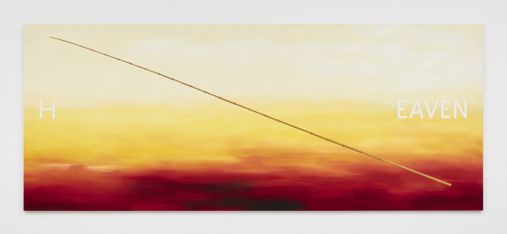 Ed Ruscha, Heaven , 1986, Oil on canvas, 59 x 145 1/2 inches, Photograph by Matthew Kroening, Courtesy of Almine Rech Gallery