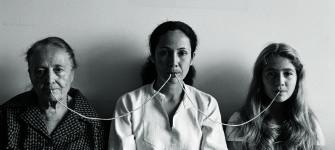 Anna Maria Maiolino, Por um Fio (By a Thread), from the Fotopoemação (Photopoemaction) series, 1976, archival inkjet print, 22.375 x 31.125, photo by Regina Vater.