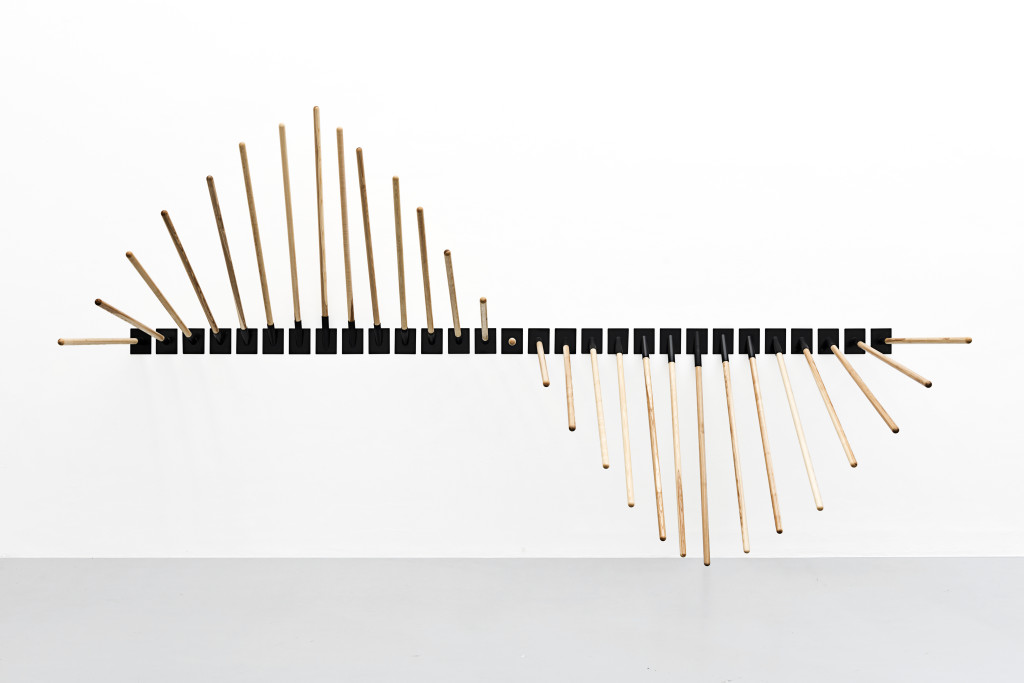 Ewa Axelrad, Shtamah #2, 2017. Ash wood flag poles, steel pole holders, dimensions variable.
