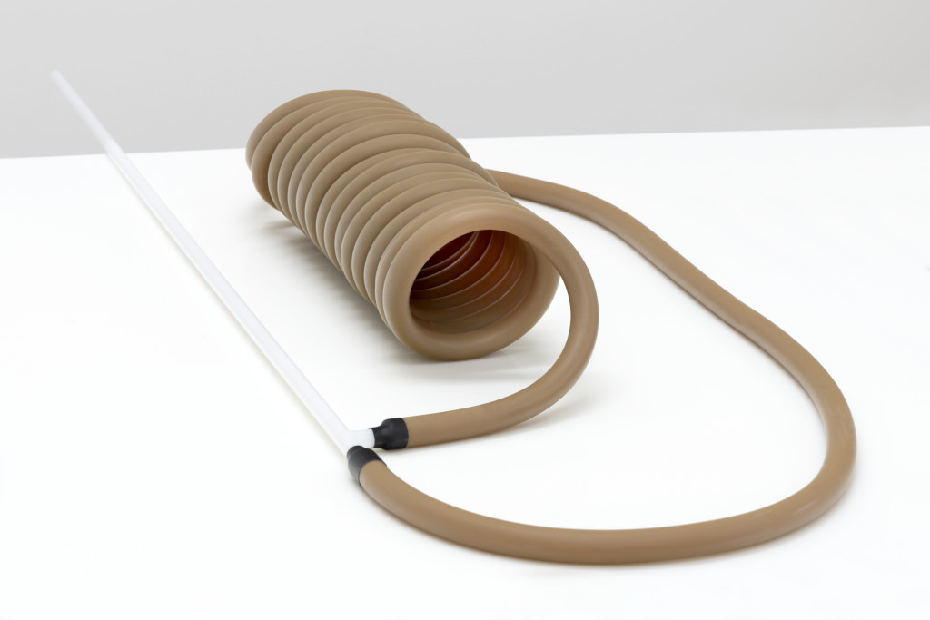 Ewa Axelrad, Minimum, Necessary, Objectively Reasonable #4 (2), 2015. Surgical latex tubing, glass, silicone 20 x 31 x 8 inches.