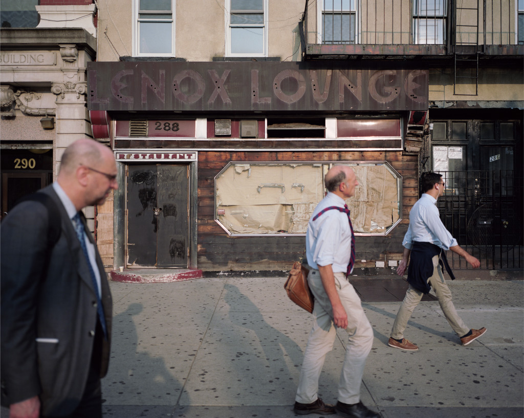 Dawoud Bey, Three Men and the Lenox Lounge, 2014. 40 x 48 inches, Archival pigment print on dibond. Courtesy of the artist, Stephen Daiter Gallery, and Rena Bransten Gallery from Harlem Redux.