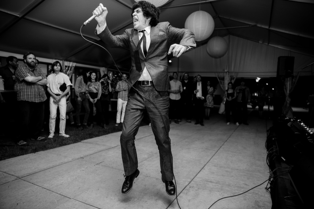 Ian F. Svenonius, performance at After-Party: Revolution Every Night, September 16, 2017, Smart Museum of Art. Photo by Jeremy Lawson Photography, Courtesy of the Smart Museum of Art.