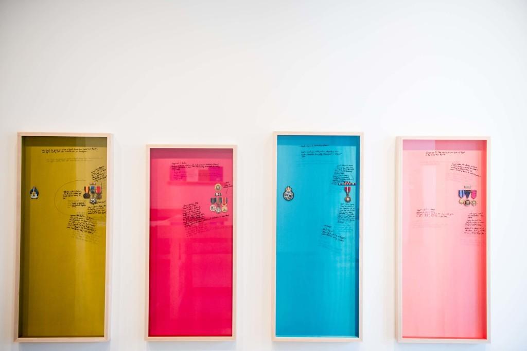 Michael Rakowitz, The Breakup: John (Egypt), Ringo (Jordan), Paul (Palestine), George (Iraq), 2012–14. Installation view at Lombard Freid Gallery, New York. Image courtesy the artist and Lombard Freid Gallery.