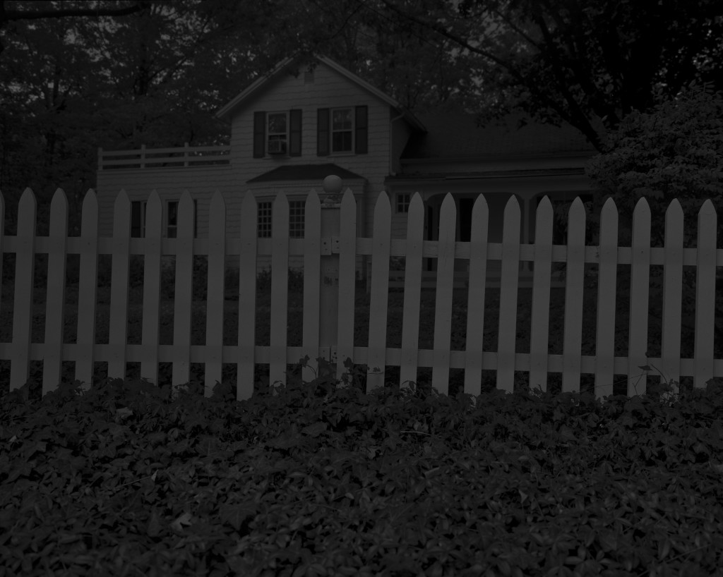 Dawoud Bey, Untitled #1(Picket Fence and Farmhouse), 2017. 50 x 60 inches. Gelatin silver print on dibond. Courtesy of the artist, Rena Bransten Gallery, and Stephen Daiter Gallery from Night Coming Tenderly, Black.