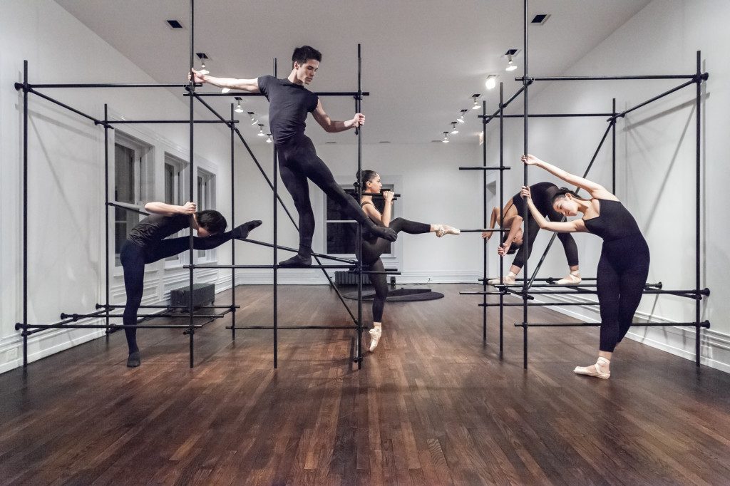 View of Brendan Fernandes: The Master and Form. 2018, Graham Foundation, Chicago. Installation in collaboration with Norman Kelley; dancers: Satoru Iwasaki, Yuha Kamoto, Andrea de León Rivera, Antonio Mannino, Leah Upchurch; photo: RCH.