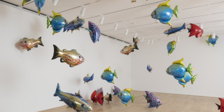 """Philippe Parreno. Two Automatons for One Duet (""""My Room Is Another Fish Bowl,"""" 1996–2016, and """"With a Rhythmic Instinction to Be Able to Travel beyond Existing Forces of Life,"""" 2014). 2018. Courtesy of the Art Institute of Chicago."""